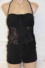 NWT Ralph Lauren Swimwear Tankini 2pc Set Size 6 BLK Crochet Shorts Bandeau