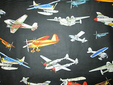 VINTAGE PLANE AIRPLANES FIGHTER PLANES BLACK COTTON FABRIC FQ