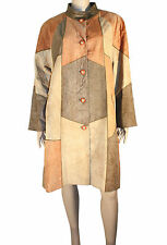 PIERRE BALMAIN TAN PATCHWORK LEATHER COAT