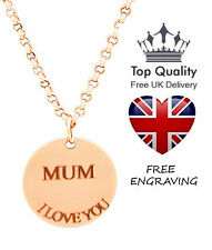 Disc Pendant Personalised Engraved Name Necklace Rose Gold Plated Mothers Gift