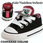 Girls Kids CONVERSE All Star BLACK PINK ANIMAL DOUBLE TONGUE Trainers SIZE UK 9