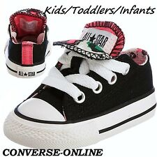 Girls Toddler CONVERSE All Star BLACK PINK LEOPARD DBL TONGUE Trainers UK SIZE 6