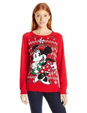 Disney Women's Minnie Scarf Christmas Sweater Red Small