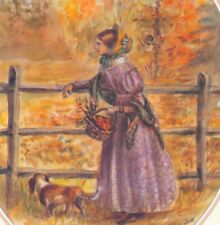 MINT ! TASHA TUDOR..FROM EMILY DICKINSON BOOK,AUTUMN LADY,DOG,GREETING NOTE CARD