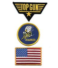 TOP GUN USN US NAVY USA Flag SEABEES Sew On Iron On NOVELTY PATCH 3 Pcs Set New