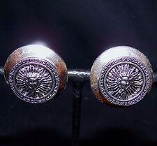 Vtg Made in USA Isabel Silver Tone Medusa Greek Key Medallion Coin Clip Earrings