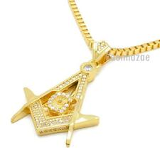 "14K GOLD PLATED MINI FREEMASON MASONIC PENDANT W 3mm 24"" BOX CHAIN NECKLACE K444"