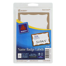 Avery Printable Self-Adhesive Name Badges 2-11/32 X 3-3/8 Gold Border 100/pack