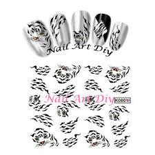 20 Nail art stickers water transfer-Adesivi Per Unglie-Disegni di Leopardo/Tigre