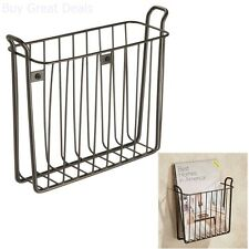 Vintage Look Metal Bronze Wall Mount Book Magazine Storage Rack Organizer Holder