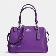 New Coach F36704 Mini Christie Carryall In Crossgrain Leather Purple  NWT