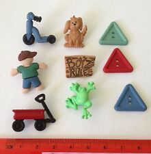 Novelty buttons Boy Red wagon scooter dog and Frog 5805