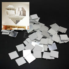 100 Specchio Mosaico Argento Wall Sticker Quadrato Adesivo Murale Parete Decoro