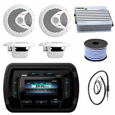 "Pyle USB Boat Bluetooth Radio,6.5"" 150W Speakers and Wire,Antenna,400W Amplifier"