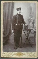 1908 RUSSIA  SAMARA , SOLDIER  WITH SWORD, nice cockade hat , CABINET PHOTO