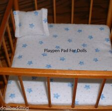 "Blue Stars Pad & Pillow Fits 8.5"" Doll Strombecker Furniture Playpen"