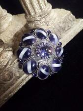 VINTAGE *UNSIGNED SCHREINER NY BROOCH *STRIPED DOMED GLASS CABS & TANZANITE R/S