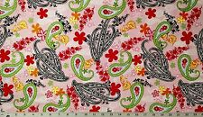 "Cotton Quilt Apparel Fabric Light Pink Red Lime Yellow Black Paisley 27"" x 44"""