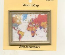 Painting / Print - Modern World Map - dollhouse miniature 1/12 scale 9562HY