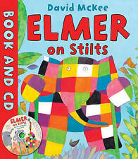 NEW  - ELMER ON STILTS - BOOK and STORY CD  David McKee