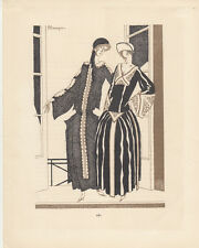 Am Balkon Pochoir Gazette de Bon Ton 1922 Mode ART DECO P. Mourgue