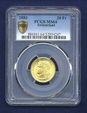 SWITZERLAND REPUBLIC  1883 20 FRANCS GOLD COIN, UNCIRCULATED CERTIFIED PCGS MS64