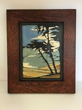 Motawi Montana De Oro Tile in a Family Woodworks Oak Park Arts & Crafts Frame