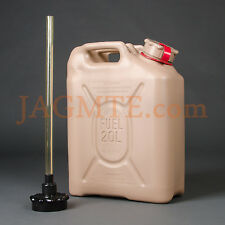 "Scepter MFC 20L/5Gal TAN with Red strap and 3/4"" POURSPOUT Military Fuel Gas Can"