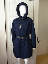 Gorski Women's Nero Apres-Ski Dyed Leather trim Hooded Jacket Size:L NWT