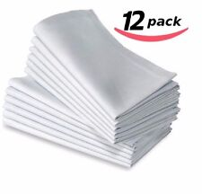 12  COTTON RESTAURANT DINNER CLOTH LINEN WHITE 20X20 PREMIUM NAPKINS