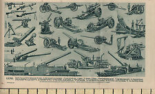 1932 PRINT ~ GUNS ~ VARIOUS MACHINE GUNS & TRENCH MORTARS
