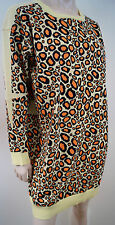 KENZO PARIS Orange Yellow & Brown Cotton Blend Leopard Print Slouchy Jumper Sz:L