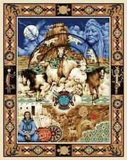 American Indians and Horses Blue Large Cotton Fabric Panel