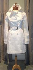NWT New PATRIZIA PEPE $495 White Cotton Trench Coat 40 4 XS Extra Small
