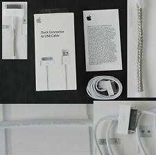 %100 Authentic Genuine Original New Apple iPhone 4/4S 30 pin USB Data Cable