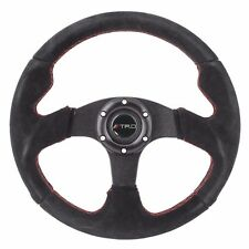 320mm JDM 6-Bolt Steering Wheel Black Suede Red Stitching TRD For Toyota