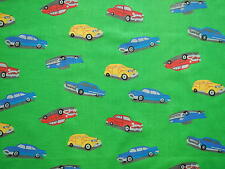 Vintage Cars on  Green   Children Baby 100% Cotton Length 1 Yard & 32""