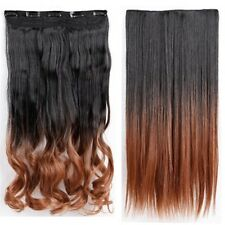 US 100% Real Thick 1Pcs Long Straight Wavy Clip In Woman Hair Extension 5Clips B