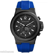 Michael Kors Dylan Chronograph Black Dial Blue Silicone Mens Watch MK8357