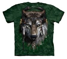 THE MOUNTAIN - WOLF Dj Fen Native  T-Shirt Green Men's Size Medium