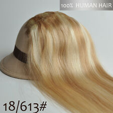 "Clips in 100% Real Human Hair Extensions Full Head Set 16""-30"" 15 Colors"