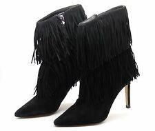 Sam Edelman Womens UK 4 EU 37 Belinda Black Suede Tassel Heeled Ankle Boots USED