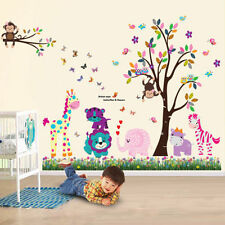 Animal hibou wall stickers singe jungle zoo tree nursery bébé chambre décalques art