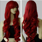 New Fashion Womens Dark Red Long Curly Anime Cosplay Party Wig 32