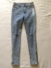 NWT TINSELTOWN COUTURE DISTRESSED HIGH WAIST SKINNY ACID WASH DENIM JEANS S