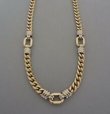 POLISHED VICENZA ITALY 14K GOLD 2 TONE STATUS LINK STATION NECKLACE - 18 GRAMS