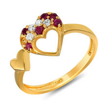 Mahi Gold Plated Sweetheart Ring With Ruby And CZ Stones FR1100311G