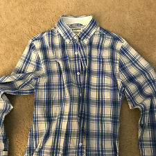 Men's Express White/Blue Checkered Long Sleeve Button Down Shirt - Small