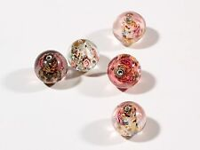 (5) 12mm Czech hand lampworked silver foil satin crystal overlay glass beads