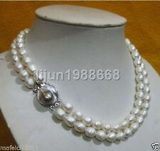 2 row 10-13MM AKOYA REAL WHITE BAROQUE PEARL NECKLACE